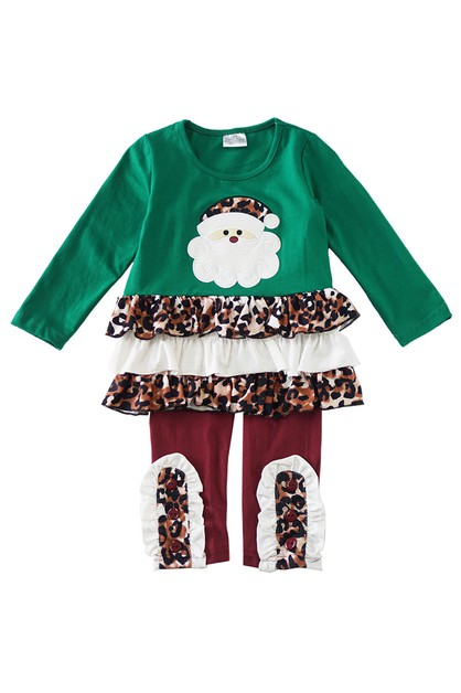 Green maroon leopard santa applique - orangeshine.com