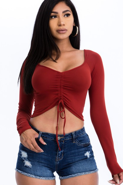 Strap Ruched Crop Top - orangeshine.com