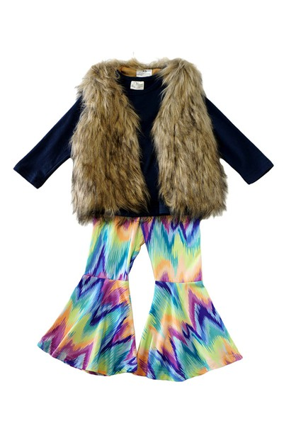 Tie dye chevron bell pants with faux - orangeshine.com