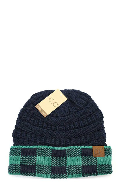 CC BUFFALO CHECK KNIT HAT - orangeshine.com