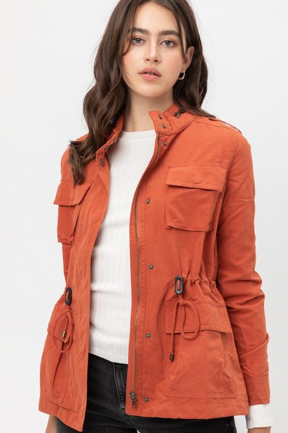 ZIPPER BUTTON DOWN JACKET - orangeshine.com