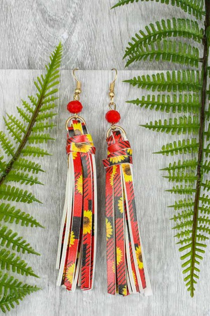 Sunflower Tassel Earrings - orangeshine.com