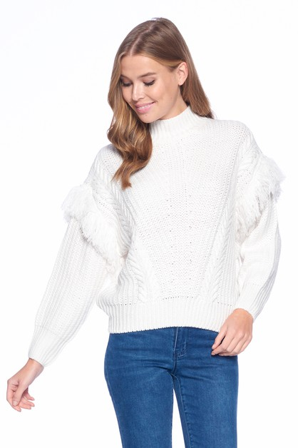 OVERSIZE HALF TURTLE NECK SWEATER - orangeshine.com