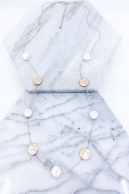Coin Pearl Station Necklace - orangeshine.com