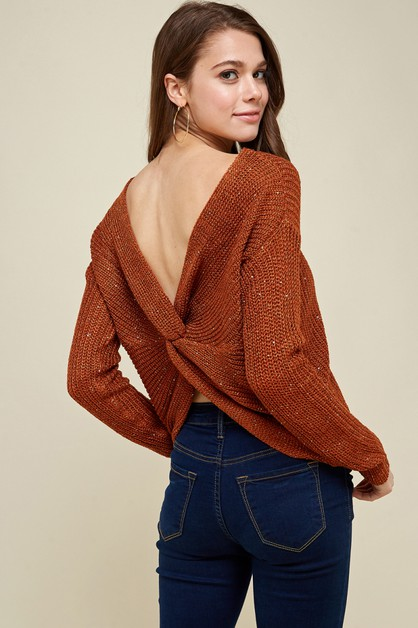 Twist Details Sequence Knit Sweater - orangeshine.com