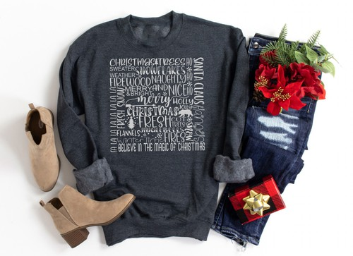 CHRISTMAS WORDS  -SWEATSHIRT  - orangeshine.com