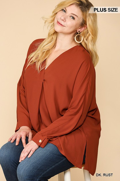 Pleated Detail V-Neck Tunic Top - orangeshine.com