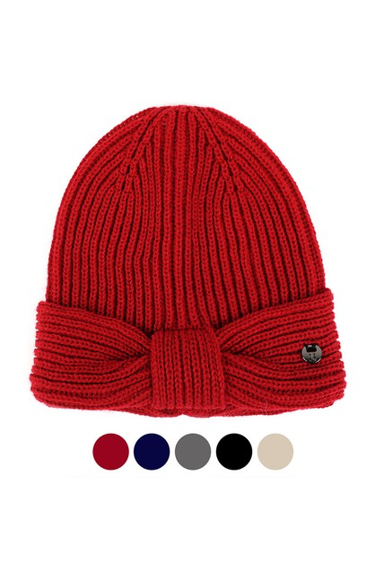 Womens Knotted Knit Winter Hat  - orangeshine.com