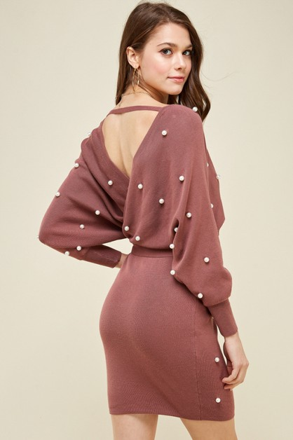 Pearl Wrap Sweater Mini Dress - orangeshine.com