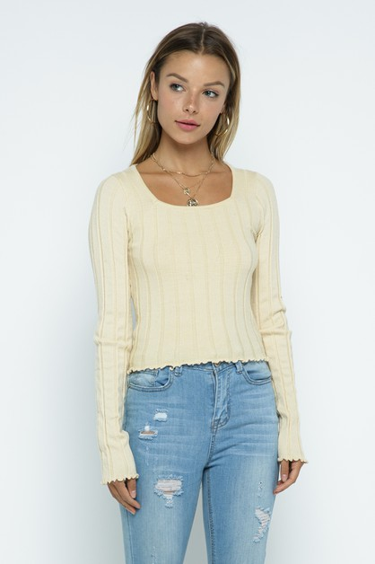 ribbed fitted sleeves kint top - orangeshine.com