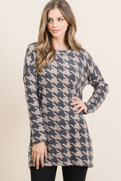 HOUNDSTOOTH LOOSE FIT TUNIC - orangeshine.com