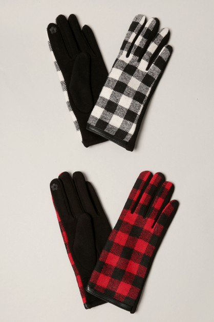 Buffalo Check Pattern Smart Touch Gloves - orangeshine.com