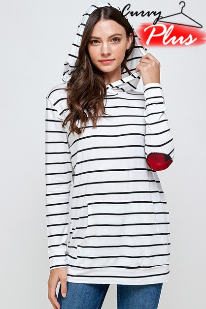 STRIPED HOODED TOP WITH ELBOW PATCH - orangeshine.com