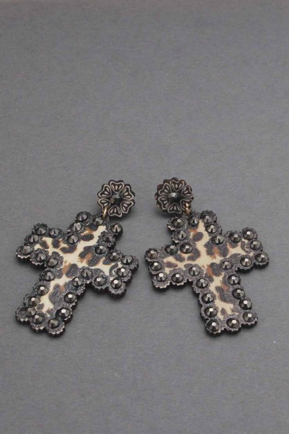 LEOPARD CROSS DANGLE EARRING  - orangeshine.com