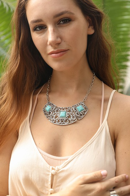 Silver Collar Turquoise Necklace - orangeshine.com