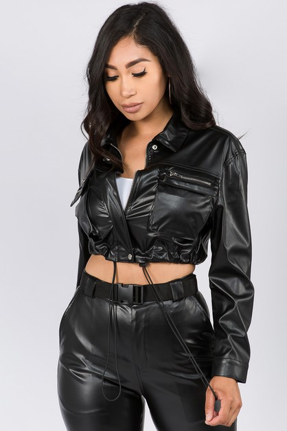 FAUX LEATHER CROPPED LENGTH JACKET - orangeshine.com