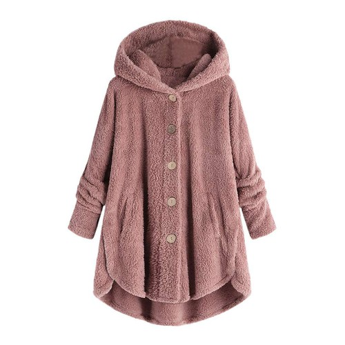 WOMEN DOUBLE FACE PLUSH HOODIE JACKE - orangeshine.com
