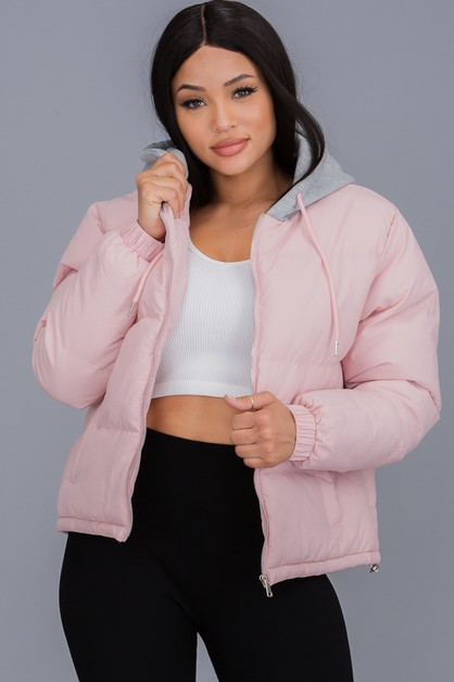 Puffer Jacket With  Hood  - orangeshine.com