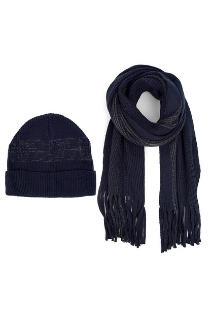Mens Winter Knit Scarf Hat Set - orangeshine.com