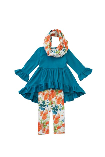 Tie dye teal tunic scarf 3 pcs set - orangeshine.com