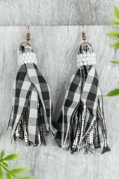 Plaid Tassel Earrings - orangeshine.com