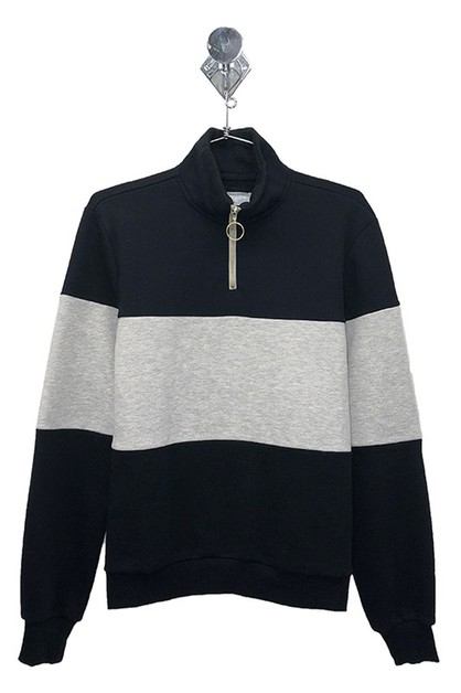 FLEECE COLOR BLOCK ZIP UP PULLOVER  - orangeshine.com