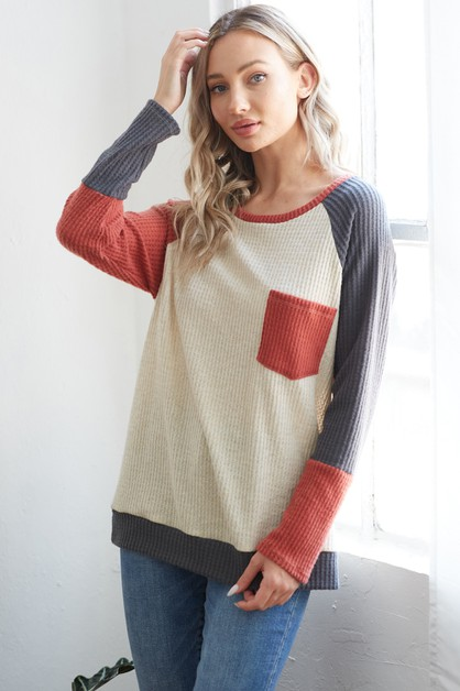 Color block top with pocket tee - orangeshine.com