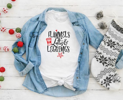 Flannels Lattes and Leggings Tee - orangeshine.com