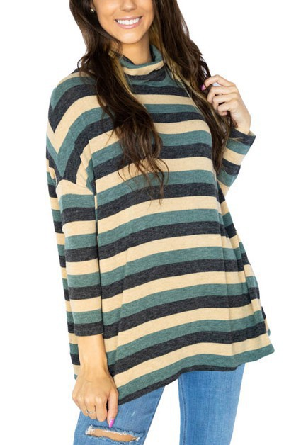 Cozy Striped Cowl Sweater Tunic - orangeshine.com