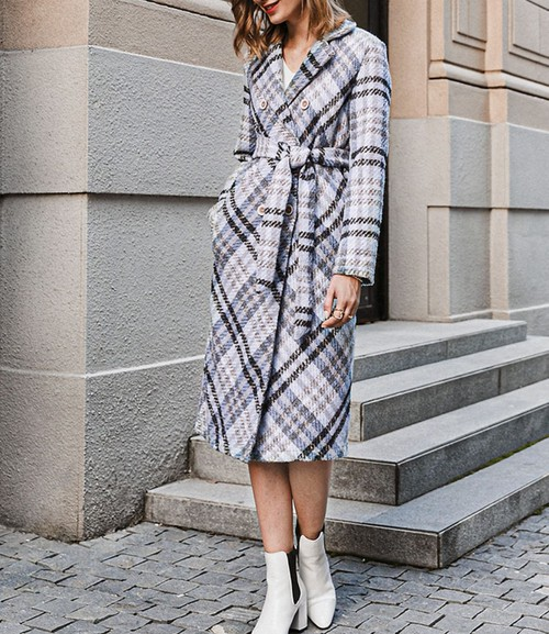 Lucile Belted Plaid Coat  - orangeshine.com