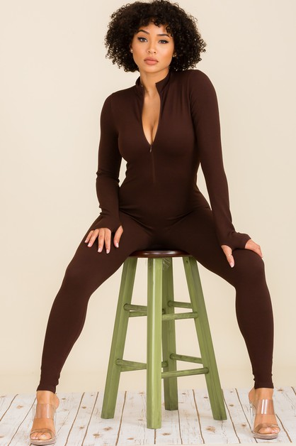 Front Zipper Long Sleeve  Jumpsuite - orangeshine.com