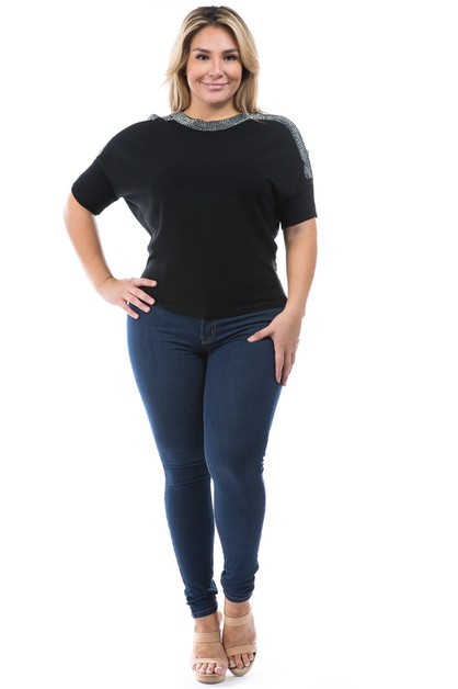 plus size casual knit solid top - orangeshine.com