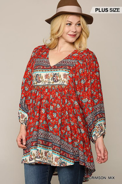 Placement Print Hi-Low Tunic Top - orangeshine.com