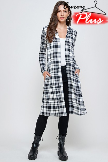 PLAID PRINT HOODED LONG CARDIGAN - orangeshine.com