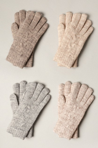 Winter Solid Soft Cable knit Cozy Gloves - orangeshine.com
