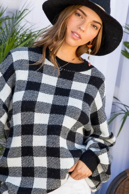 Round Neck Long Sleeve Plaid Oversized S - orangeshine.com
