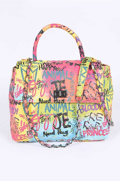 Top Handle Graffiti Shoulder Bag - orangeshine.com
