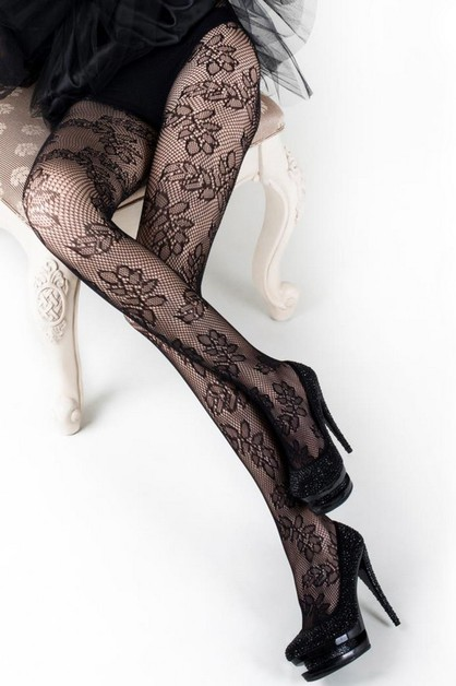 Leaf Design Fishnet Tights - orangeshine.com