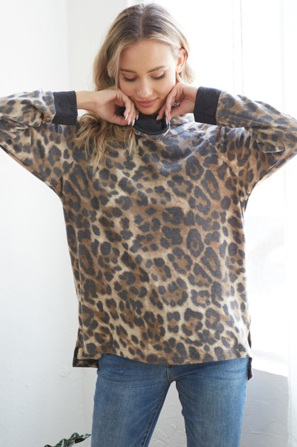 Animal print mock neck - orangeshine.com