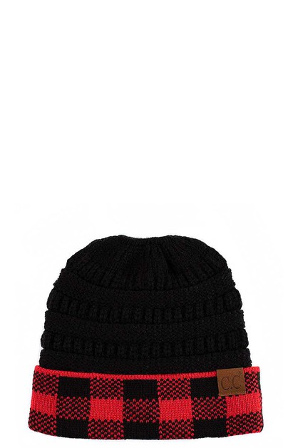 BUFFALO CHECK CC BEANIE TAIL - orangeshine.com