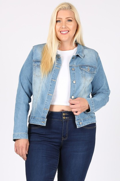 Plus Classic Vintage Denim Jacket - orangeshine.com