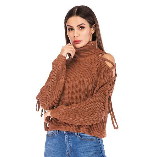 SEXY TURTLENECK OPEN SHOULDER STRAP  - orangeshine.com