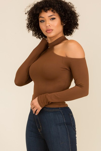 Mock neck One shoulder  Long Sleeve  - orangeshine.com
