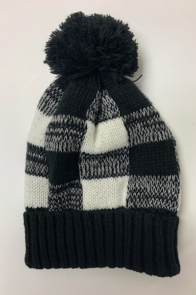 Black White Plaid Pom Pom Beanie - orangeshine.com