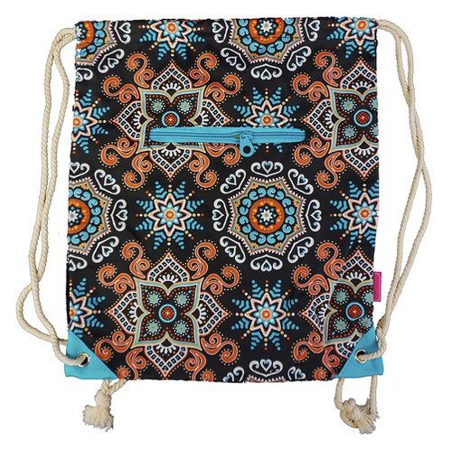 Mosaic Drawstring Backpack Cinch - orangeshine.com