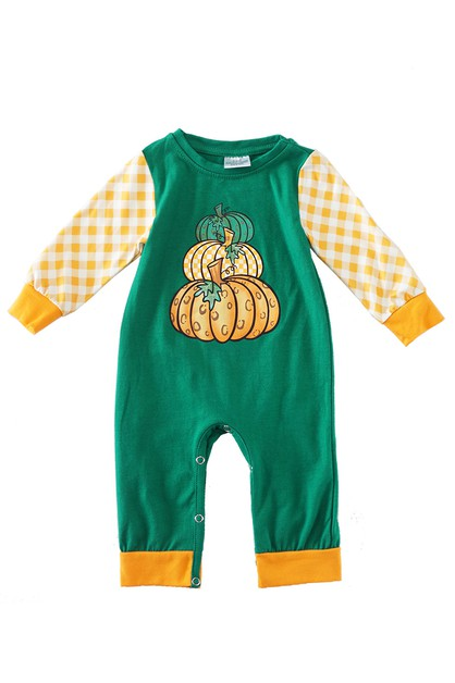 Green plaid pumpkin baby romper jump - orangeshine.com