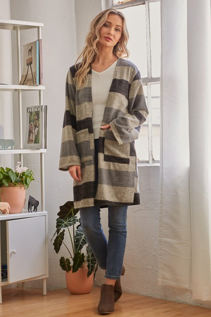 Striped Longsleeve Long Cardigan - orangeshine.com