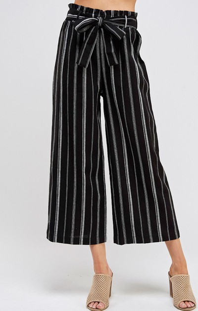 MULTI STRIPE PALAZZO CROPPED PANTS  - orangeshine.com