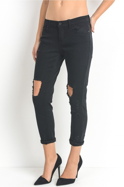 Distressed busted knee styling jeans - orangeshine.com