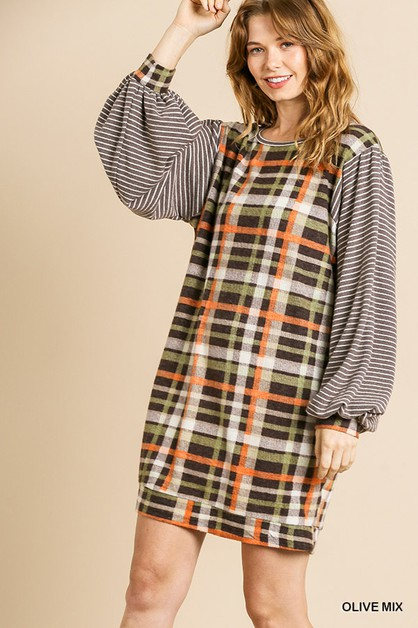 Fleece Striped Plaid Sweater Dress - orangeshine.com